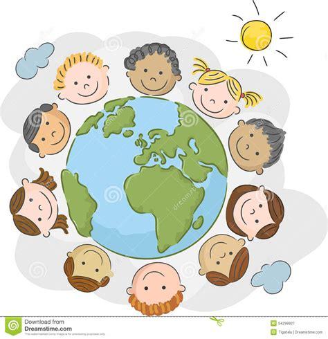 clipart mondo fumetto i bambini mondo in un cerchio nel mondo