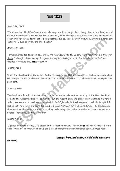 Zlata S Diary Worksheets zlata s diary worksheets livinghealthybulletin