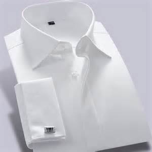 mens white french cuff dres shirt long sleeve men clothes