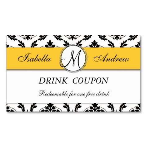 damask yellow wedding free drink coupon card business card
