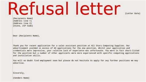Refusal Credit Letter May 2015 Sles Business Letters