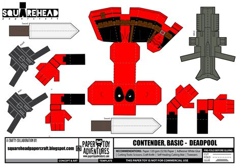 Make Papercraft - square papercraft dead pool papercraft