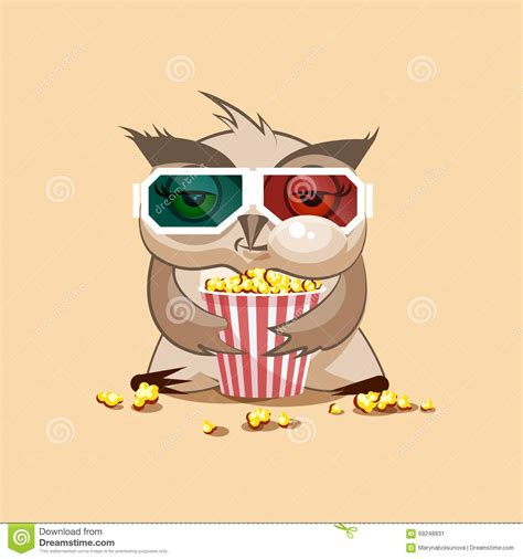 film cartoon owl owl watching a movie stock vector image 69248931