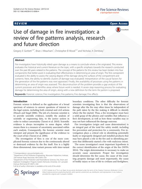 pattern analysis study use of damage in fire investigation a pdf download
