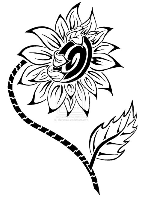 tribal sunflower tattoo sunflower by devonsw on deviantart