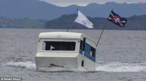driving boat into lift waiuku tradies turn caravan into fishing vessel capable of