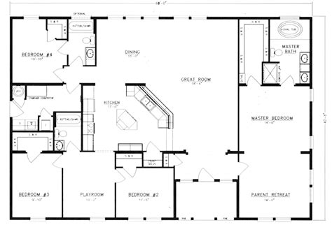 4 bedroom floor plan home floor plans on barndominium small house