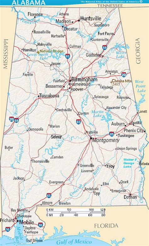 road map of alabama detailed road map of alabama state with relief and cities