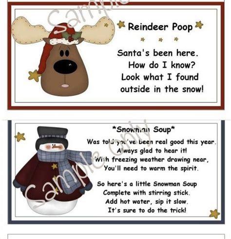 reindeer bag printable christmas printables reindeer poop and snowman soup bag
