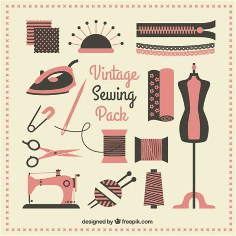 sewing pattern logos vintage sewing pack vector free download