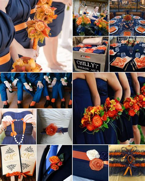 navy and burnt orange weddings