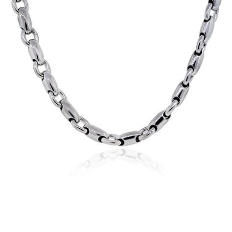 14k white gold barrel chain link mens necklace boca raton
