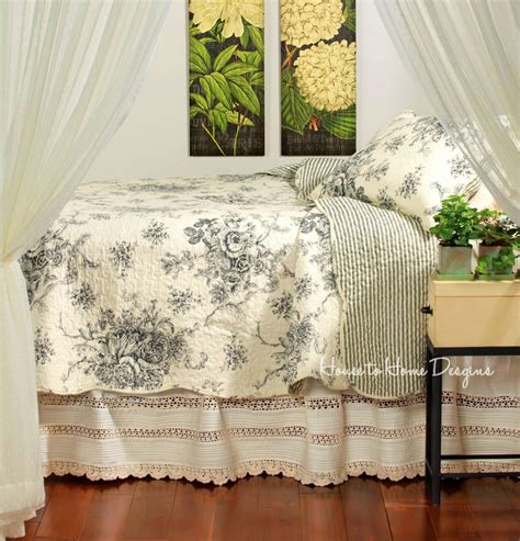 country cottage bedding french country black rose full queen quilt set cottage