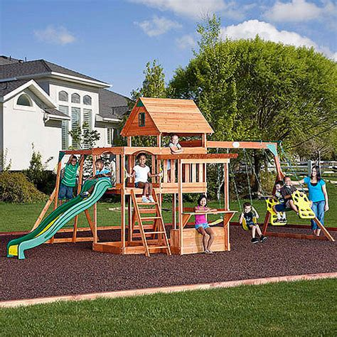 backyard discovery monticello cedar wooden swing sets wooden play sets