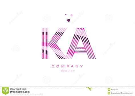 Icon Design Köln | ka k a alphabet letter logo pink purple line icon template