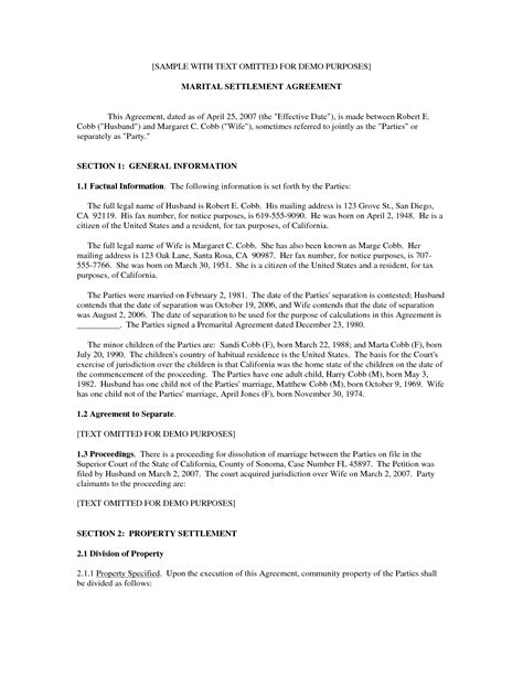 Marriage Separation Agreement Form Ichwobbledich Com Marriage Settlement Agreement Template