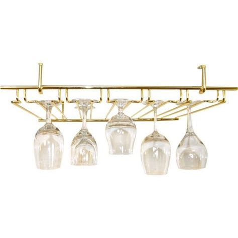 Glassware Rack by 5 Channel Overhead Glass Rack Brass Colored