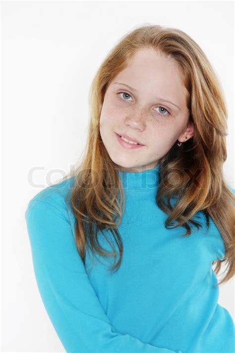 cute teenagers cute teen girl over white stock photo colourbox