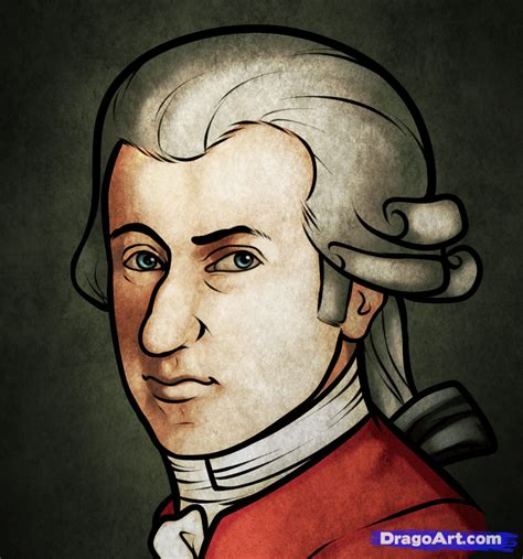 how to draw mozart wolfgang amadeus mozart step by step