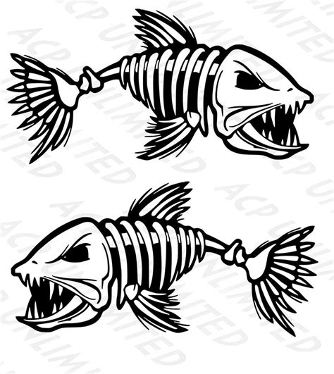boat decals large 2 skeleton fish bone boat decals large fishing graphic