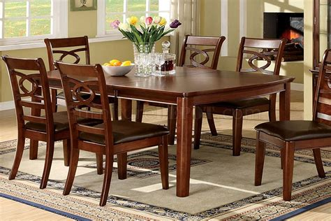 Carlton Brown Cherry Buffet Cm3149hb Cm3149t Carlton I Dining Table 7pc Set In Brown Cherry W