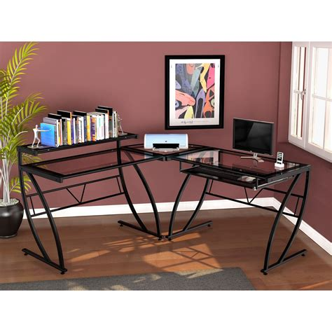 Z Shaped Desk Z Line Feliz Glass L Shaped Desk Black Desks At Hayneedle