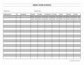 Free Printable Work Schedule Template Weekly Work Schedule Freewordtemplates Net
