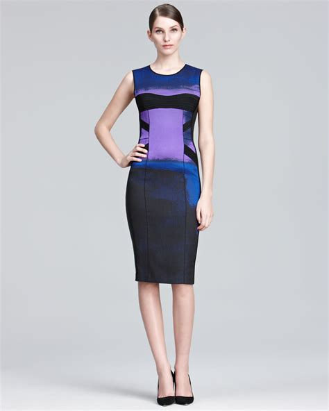 Who Wore It Better Narciso Rodriguez Lavender Tie Dress by Narciso Rodriguez Printed Sheath Dress In Blue Violet Lyst