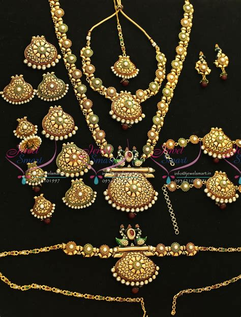 Set Bridal India Kalung India Premium Aamh021 w5664 bridal indian traditional grand wedding jewellery antique gold plated