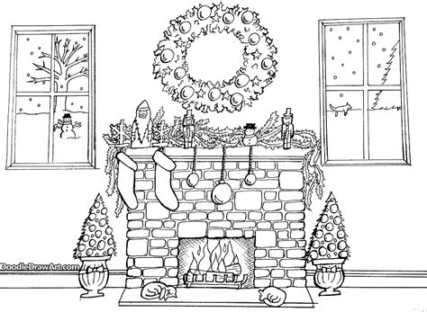 coloring page christmas fireplace christmas fireplace coloring page by doodledrawart craftsy