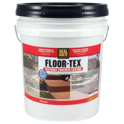 seal krete floor tex 5 gal 460 white base tintable low voc textured concrete coating 460005
