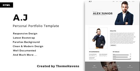 A J Personal One Page Portfolio Template By Themehavens Themeforest Personal Portfolio Template
