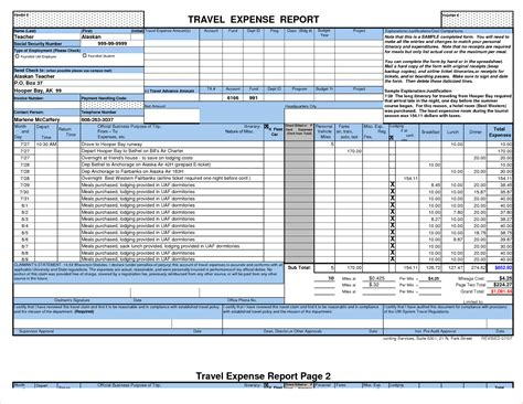 7 travel expense report template procedure template sle