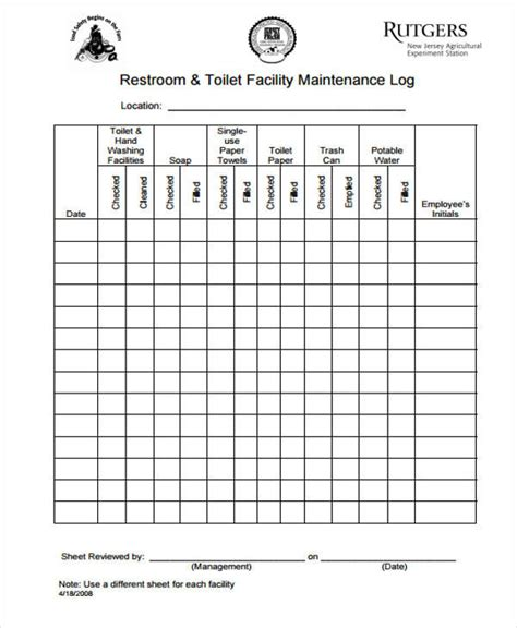 bathroom cleaning log 31 daily log templates