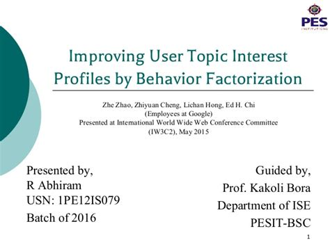 a seminar on user topic interest profiles research by
