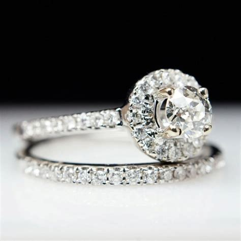 sale beautiful 76ct 14k white gold solitaire halo