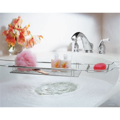bathtub accessories expandable bathtub caddy chrome in tub caddies and