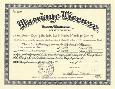 Fulton County Marriage License Records Ammon Chanelle Dodson 2014 In Wa Marriage License Wa