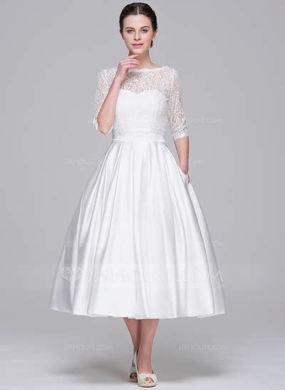 Ball Gown Sweetheart Tea Length Satin Wedding Dress With