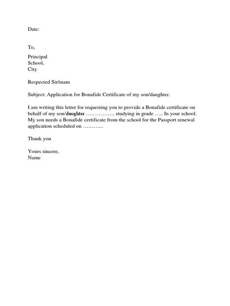 Bonafide Certificate Letter To Principal Application Letter Bonafide Certificate College