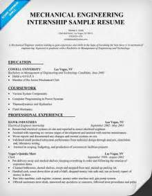 Sample Resume For Mechanical Production Engineer mechanical engineering internship resume sample