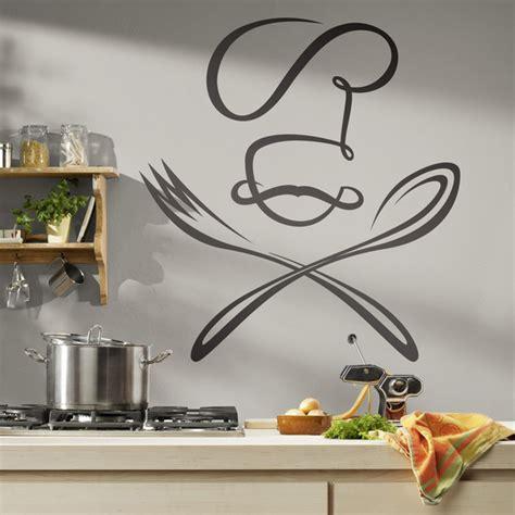 posizione cucchiaio a letto adesivo murale per la cucina chef cucchiaio e forchetta