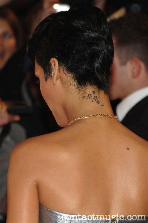 rihanna star tattoo design artistic rihanna design on neck tattoomagz