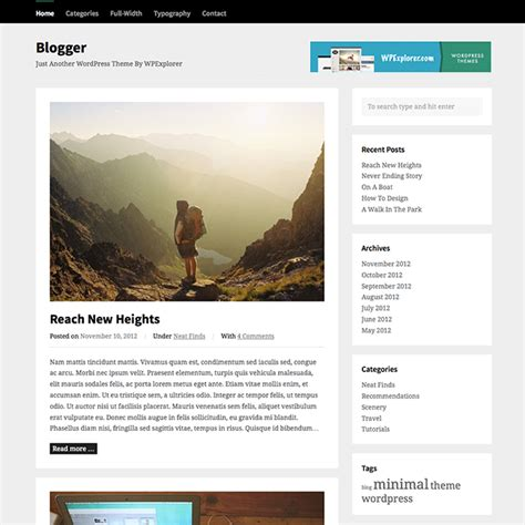 wordpress themes zonder blog blogger free wordpress theme wpexplorer