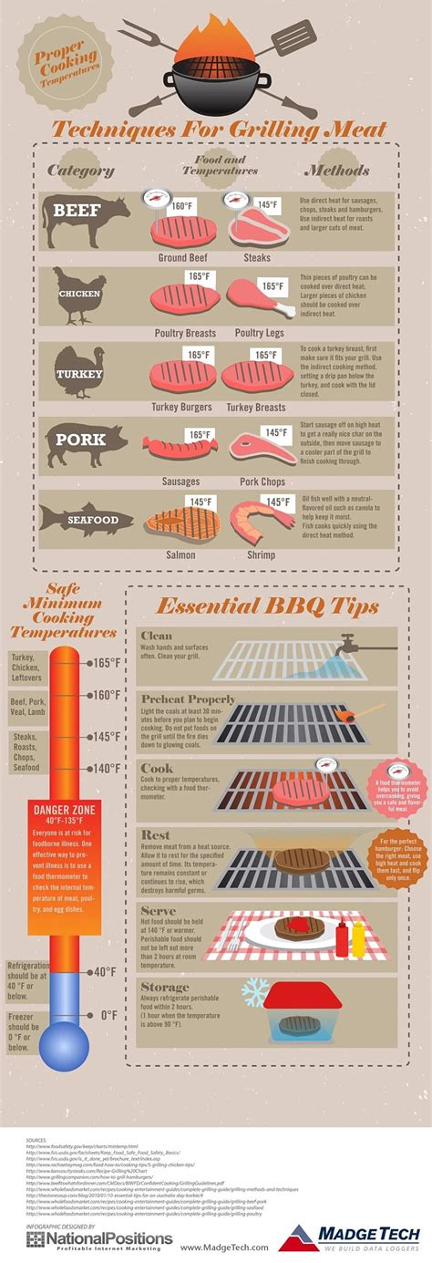 cooking infographic techniques for grilling meat madgetech