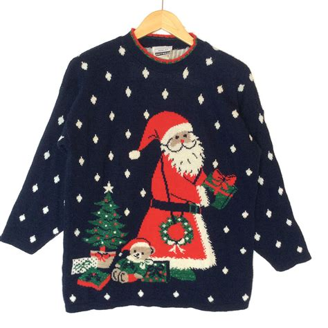 Snowy Sweater vintage 80s adele knit santa in the snow tacky sweater the sweater shop