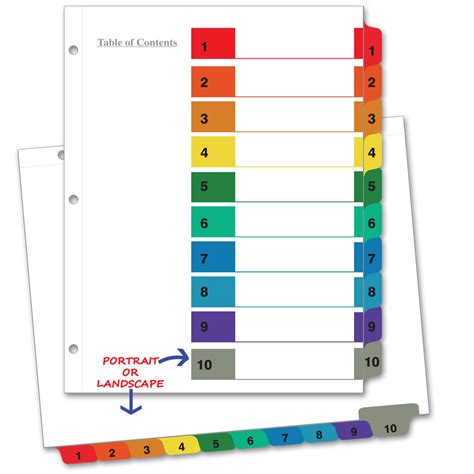 index divider templates avery 10 tab color template zeehelper