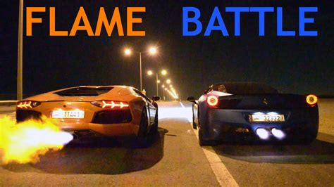 Ferrari 458 & Lamborghini Aventador Flamethrower   YouTube