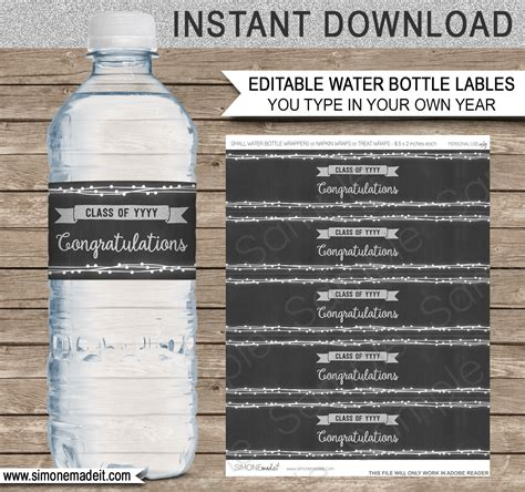 graduation labels template free editable graduation water bottle labels decorations