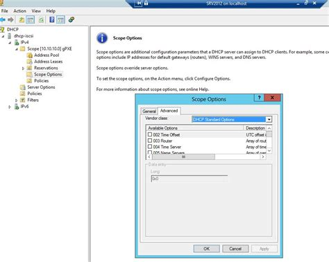 si鑒e social microsoft can t select user classes in dhcp server 2012